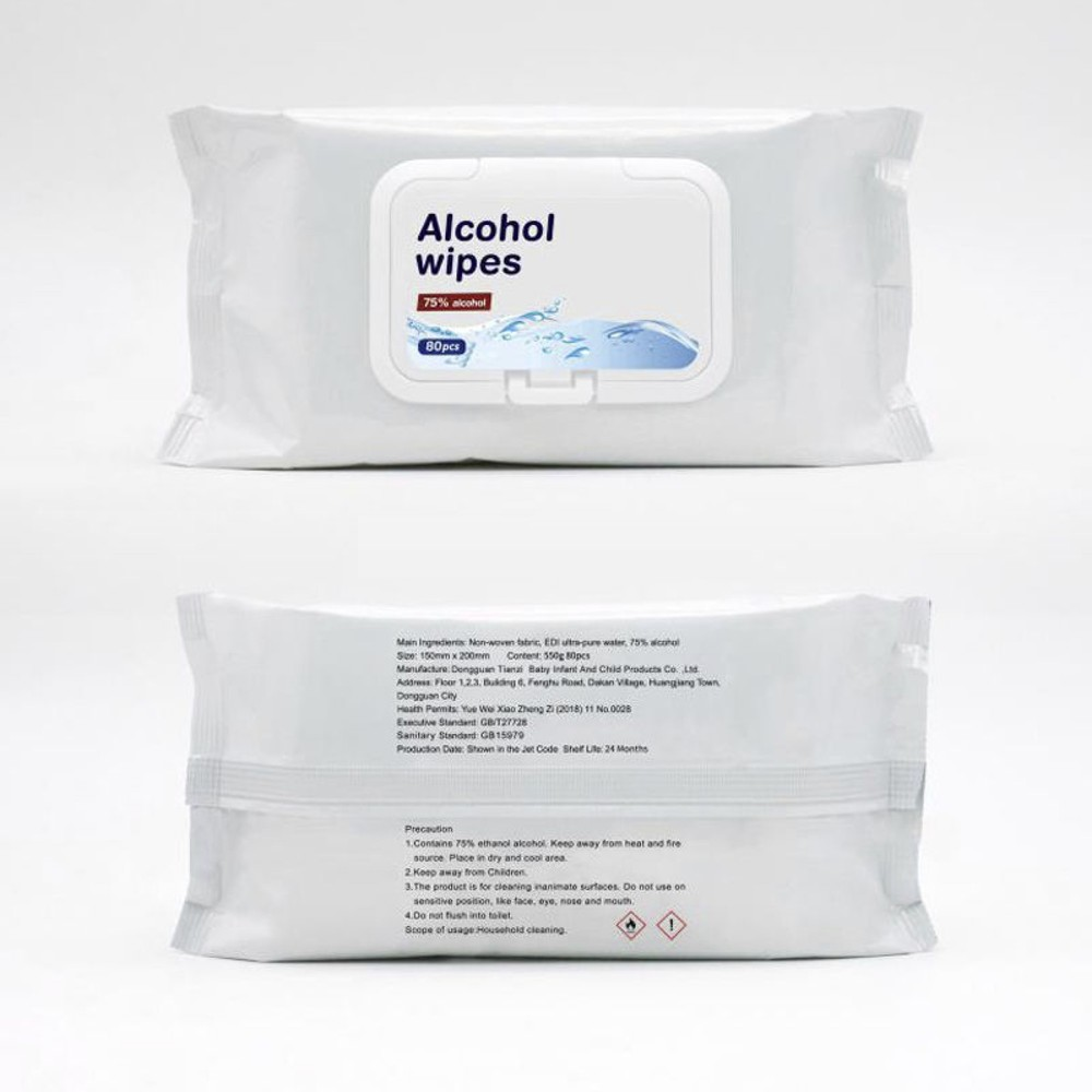 75% alcohol anti-bacterial wet wipes
